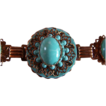 REDUCED ~ Vintage Runway Link Bracelet ~  Perfectly Turquoised Peking Glass On Copper