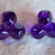SALE REDUCED ~ Runway Earrings ~ 1960's Trefoil In Translucent Purple ~ Vintage Clip-Ons