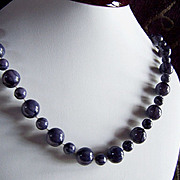 SALE REDUCED AGAIN ~ Vintage Beaded Necklace ~  Marbleized BlueBerry Necklace