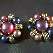 SALE REDUCED ~ Vintage Earrings ~ MOONGLOW LUCITE & MultiColored Beads Cluster ClipOns