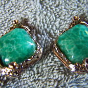 SALE REDUCED ~ PEKING JADE GLASS Vintage Earrings ~ Handsome, Sturdy ClipOns ~