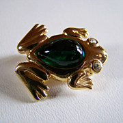 SALE REDUCED AGAIN ~ FROG Brooch ~ Vintage 10KT GP Jelly Belly Leaping Frog