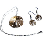 SALE REDUCED ~ SAND DOLLAR Demi Parure ~ Vintage 10 Kt Necklace & FishHook Earrings
