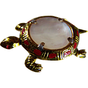 SALE 10KT GP TURTLE Brooch/Clip ~ Vintage Earthy Mother Of Pearl Turtle Brooch/Clip