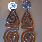 SALE REDUCED ~ Vintage Sterling Silver CIRCLES, TRIANGLES & SPIRALS ~  Interestingly Shaped Ea