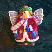 SALE REDUCED ~ CHRISTMAS ANGEL ~  Button Cover Holiday Angel With Pizzazz !!!