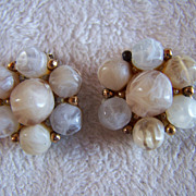SALE REDUCED ~ KRAMER ~ Vintage 1950's Lucite EASTER EGG Cluster Earrings ~ Clip Ons