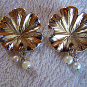 SALE REDUCED ~ CAPRI ~ Vintage Gold & Silver Toned Leaf With Dangling Double Faux Pearl Accent