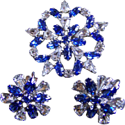 SALE B. DAVID ~ Montana Blue & Clear Rhinestone Starburst Brooch & Earring Set ~ Demi Parure O