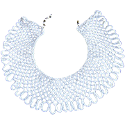 SALE Vintage BEADED SHAWL COLLAR ~ NECKLACE ~ Iridescent White, Meticulously Crafted & In Supe