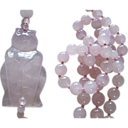 SALE ROSE QUARTZ  (Asian) Beads With Cat Medallion ~ Vintage Beads At Their Finest ~ Ultimatel