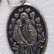 SALE REDUCED ~~ LOVE BIRDS ~ International Silver 925 Retro Necklace With Loads Of Loving Char