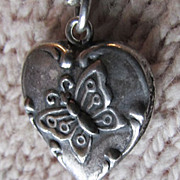 SALE Sterling Silver ~ Butterfly Puffy Heart Charm