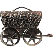 SALE REDUCED ~ Vintage Ornate 14KT GF Fancy Covered Wagon  ~ Movable Wheels
