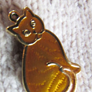 SALE Enamel CAT Pendant/Charm ~ Lots Of Purring Going On With This Happy Cat ~ Sunshine Might