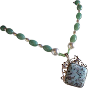 SALE Opaque Mottled Light Green And Buff Jade Lavalier Necklace With So Much More ~ Vintage Tr