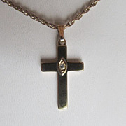 SALE 14KT Gold Plated Cross With Crystal Clear CZ Center Stone & Handsome Fine Double Link Cha