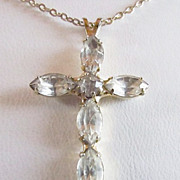 SALE Vintage CROSS Of Crystals Necklace ~~  Genuine Crystal/Rhinestone Cross Pendant Hangs Dai