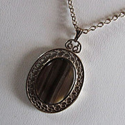 SALE SARAH COVENTRY  Pendant ~~ Tiger Eye Cabochon In 12KT GP Filigree Frame