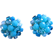 SALE Vintage SKY-BLUE CLUSTER Clip-Ons, Late 1950's, Simple But Classy  Earrings!!