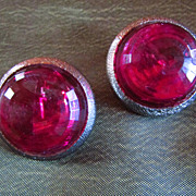 SALE Bergere RASPBERRY Glass Headlight/Button Earrings ~ Vintage Pizazz !!