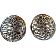 SALE BASKET WEAVE Button Clip Earrings ~ 14KT Gold Plated Earring & Clip ~~ Superb Vintage Con