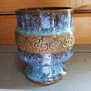 SALE BEATO ~~ Outstanding BEATRICE WOOD Footed Vase/Cup/Bowl ~~ Blue Mottled Lava Glaze With G