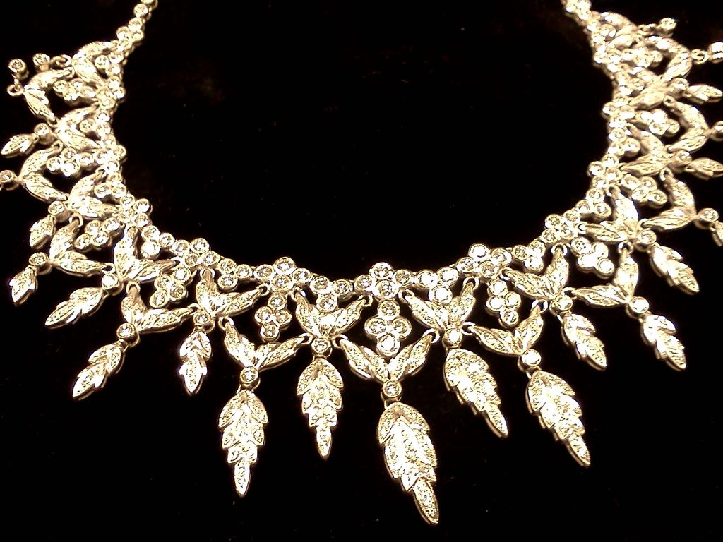 Exquisite Platinum And  Diamond Waterfall Necklace