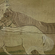 Chinese Scroll Painting Of Two Horses, Ming Dynasty