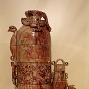 Superb Large Chinese Jade Dragon & Phoenix Wine Pot, Han Dynasty