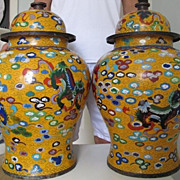 Superb Pair Chinese Imperial Yellow Cloisonne Vases, Palace Size