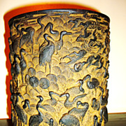 Superb Chinese 1000 Cranes Bamboo Brush Pot, Qing Dynasty