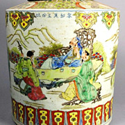 Magnificent Large Chinese Porcelain Tea Caddy, Kangxi Era