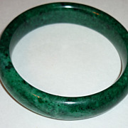 Antique Chinese Emerald Green Jade Bracelet, Qing Dynasty