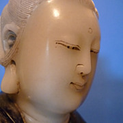Superb Chinese White Jade & Zitan Wood Kwan Yin, Qianlong 白翡翠观&#38