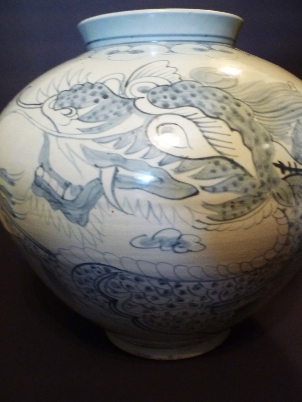 "Chinese Large Dragon Vase, Blue & White, 16"" Wide"