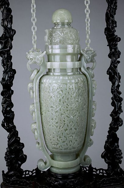Magnificent Chinese Celedon Jade Hanging Vase With Display Stand