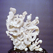 Superb Chinese Two Dragon White Jade Carving