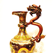 SOLD Chinese Cloisonne Dragon Bronze Wine Ewer, Qing Dynasty