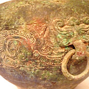 Chinese Han Dynasty Bronze Pot, Spirit Face Handles