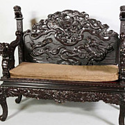 Chinese Carved Dragon Bench with Foo Dogs, Qing Dynasty