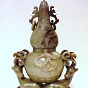 Chinese Jade Vase of Two Deer & Double Gourd, Ming Dynasty