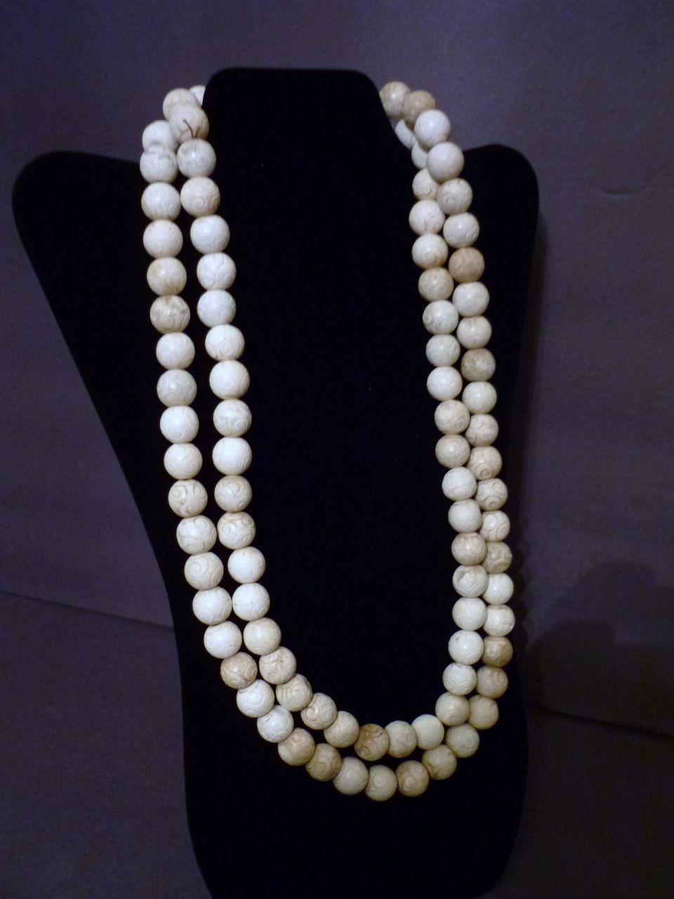 Chinese White Jade Beaded Necklace, Qing Dynasty &#30333;&#29577;