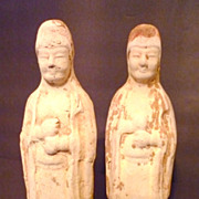 Pair of Chinese Tang Dynasty Pottery Figures, Court Officials