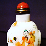 Chinese Peking White Glass Painted Snuff Bottle, Qing Dynasty