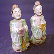Chinese Ming Dynasty Glazed Pottery Attendants, Pair