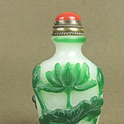 Chinese Carved Peking Glass Snuff Bottle, Lotus Blossom
