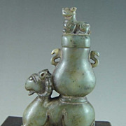 Chinese Green Jade Ram & Dragon Vase, Ming Dynasty