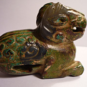 Chinese Jade Dragon Covered In Lacquer & Gold, Tang Dynasty