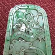 SOLD Magnificent Chinese Apple Green Jade Dragon & Phoenix Pendant, Qing Dynasty